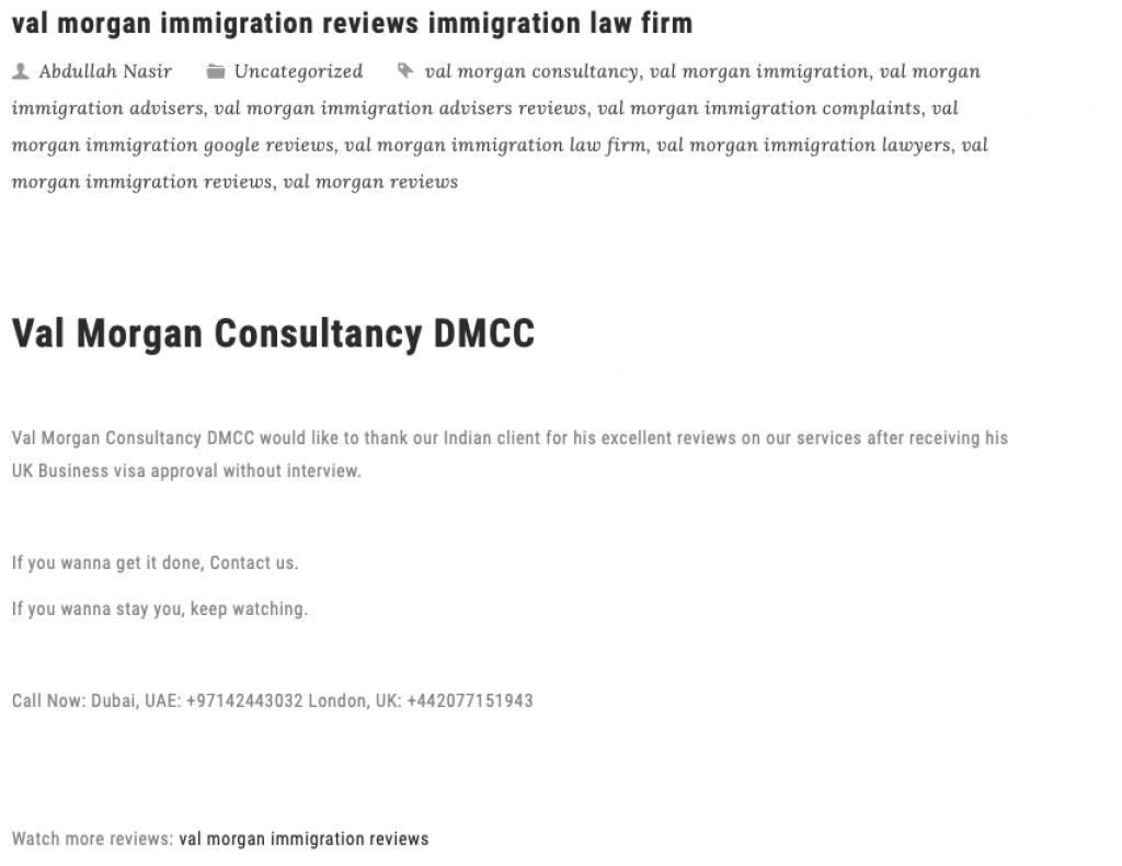 Val Morgan Immigration scam